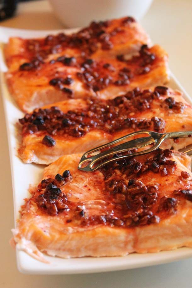 Salmon With Raspberry Sauce and Toasted Pecans