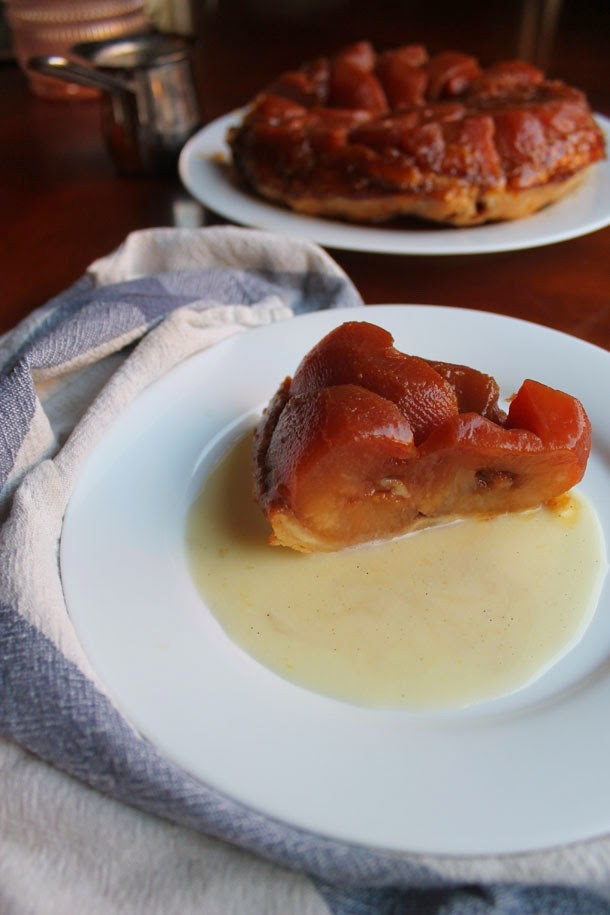Tarte Tatin in Vanilla Bean Custard Sauce {French Caramel Apple Tart}