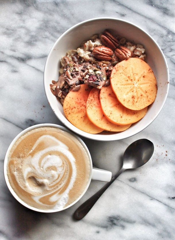 Vanilla bean overnight porridge with fresh persimmons