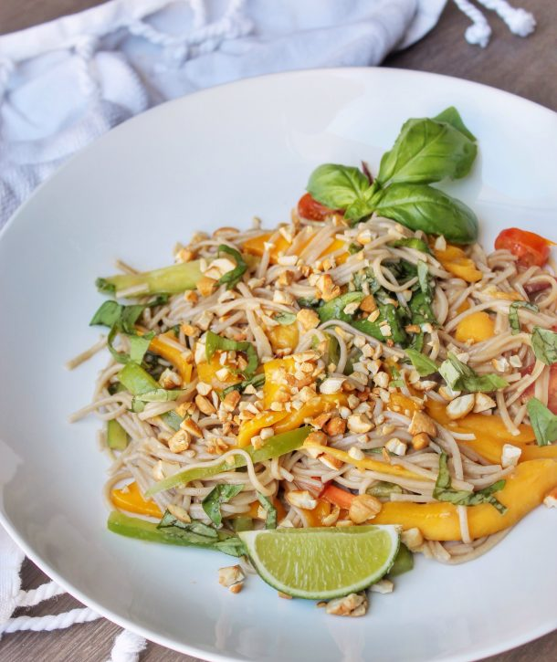 Thai inspired noodles with mango, basil and peanuts