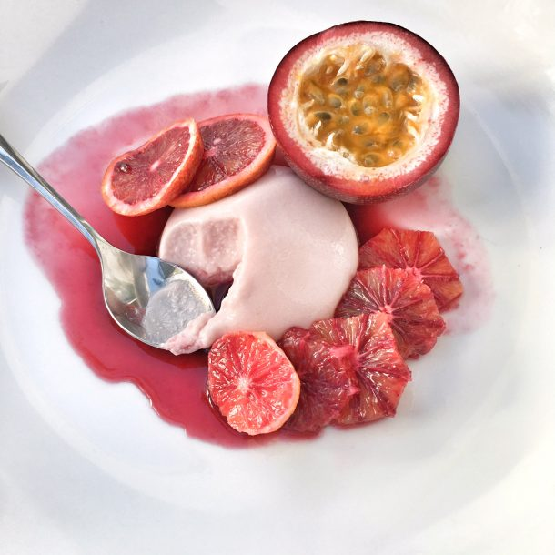 Blood Orange Passion Fruit Panna Cotta