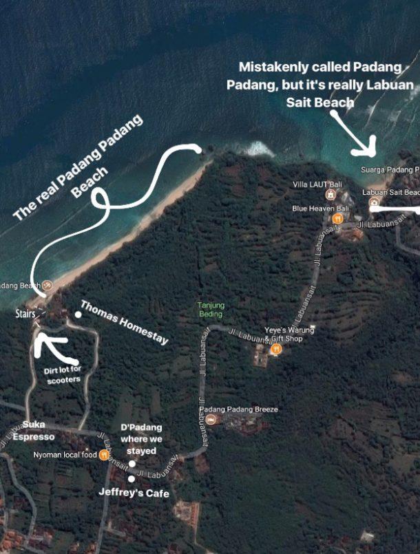 Uluwatu Padang Padang Map